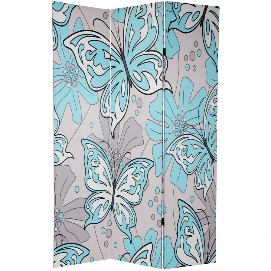 6 ft. Tall Double Sided Butterflies Room Divider
