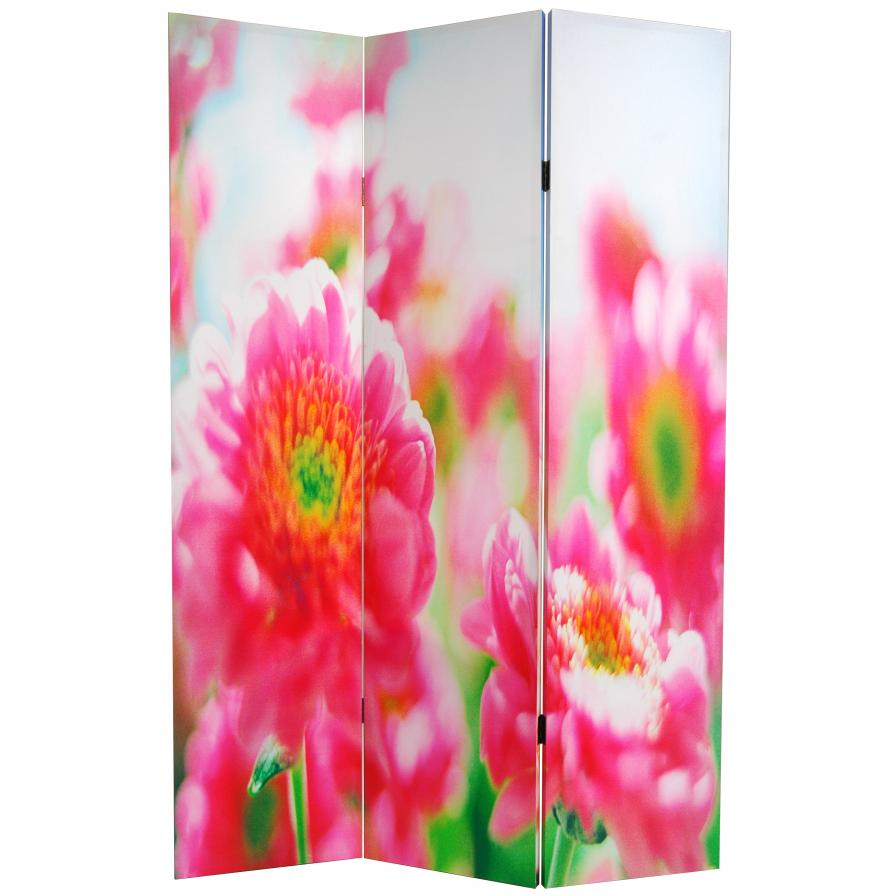 6 ft. Tall Double Sided Summer Flowers Canvas Room Divider