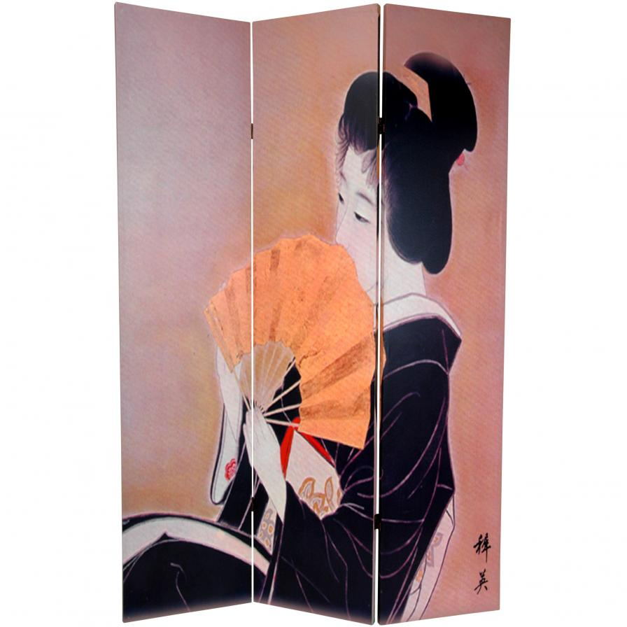 6 ft. Tall Double Sided Geisha Room Divider