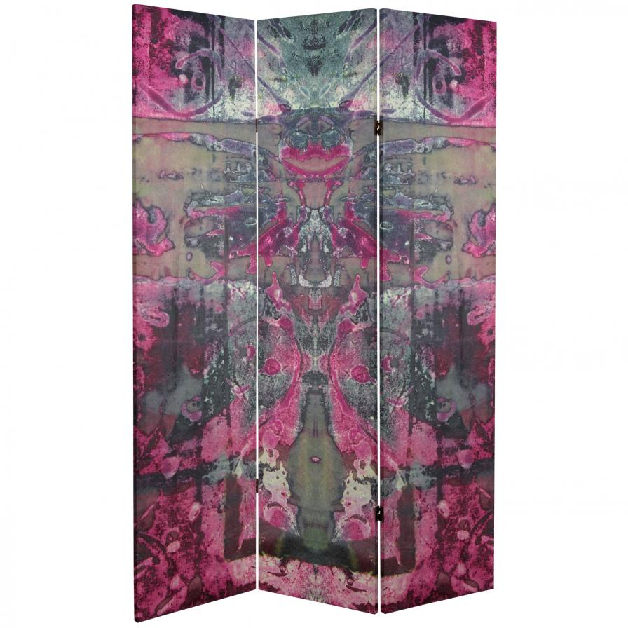 6 ft. Tall Double Sided Pink Cosmic Debris Canvas Room Divider
