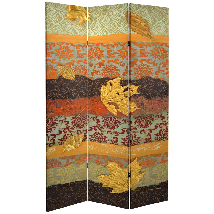7 ft. Tall Double Sided October Gold Canvas Room Divider