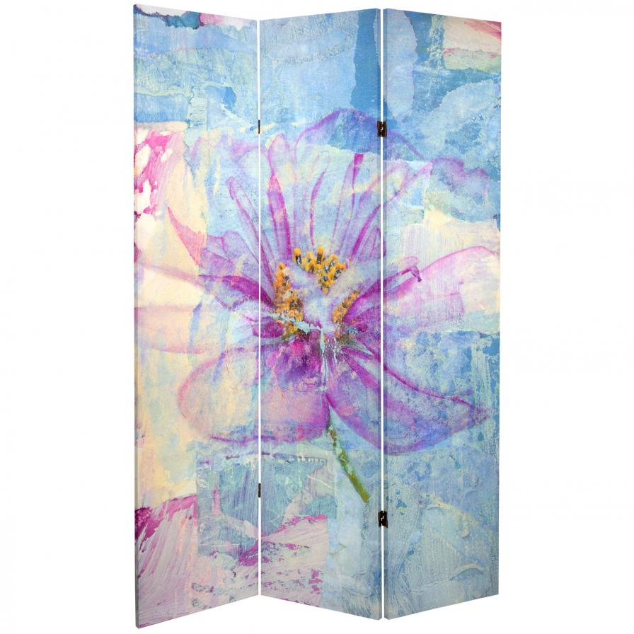 6 ft. Tall Double Sided Love Blossom Canvas Room Divider
