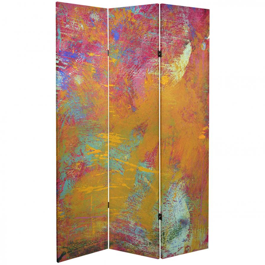 6 ft. Tall Double Sided Color Wheel Canvas Room Divider