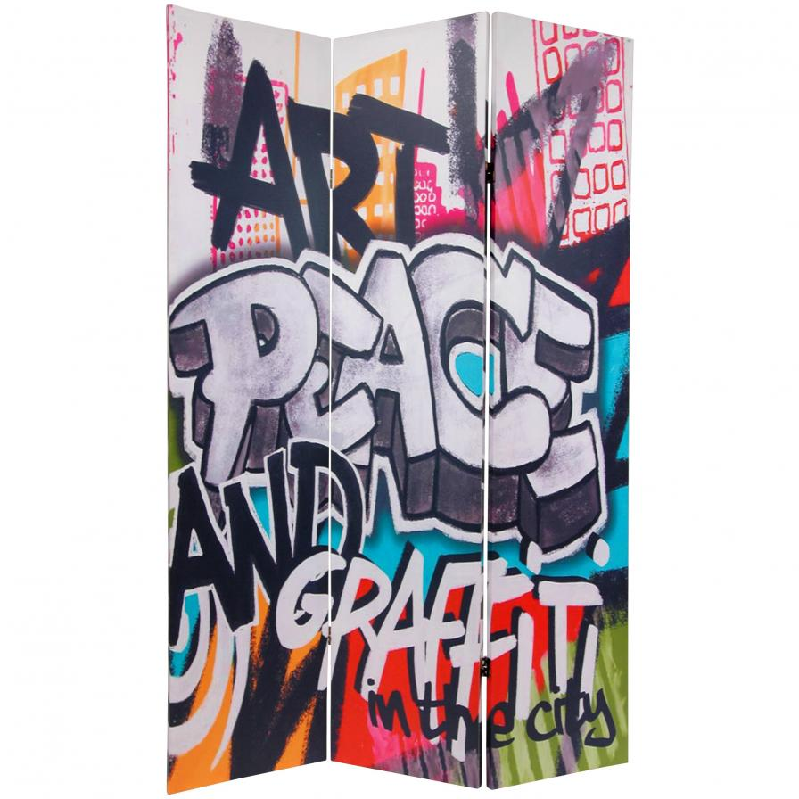 6 ft. Tall Double Sided Graffiti Canvas Room Divider