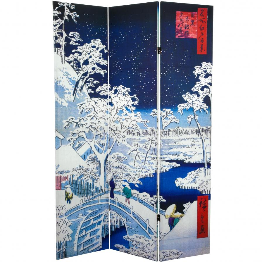 6 ft. Tall Double Sided Hiroshige Room Divider - Drum Bridge/River Bank
