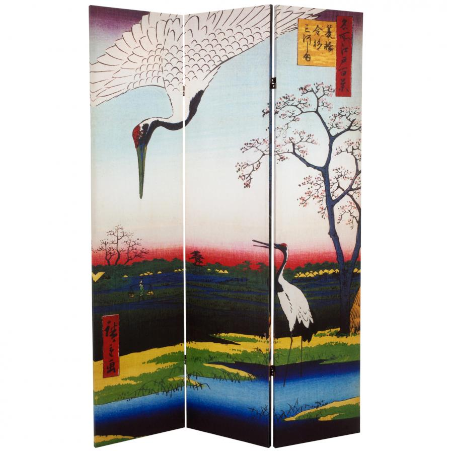 6 ft. Tall Double Sided Hiroshige Room Divider - Cranes/Fox Fire