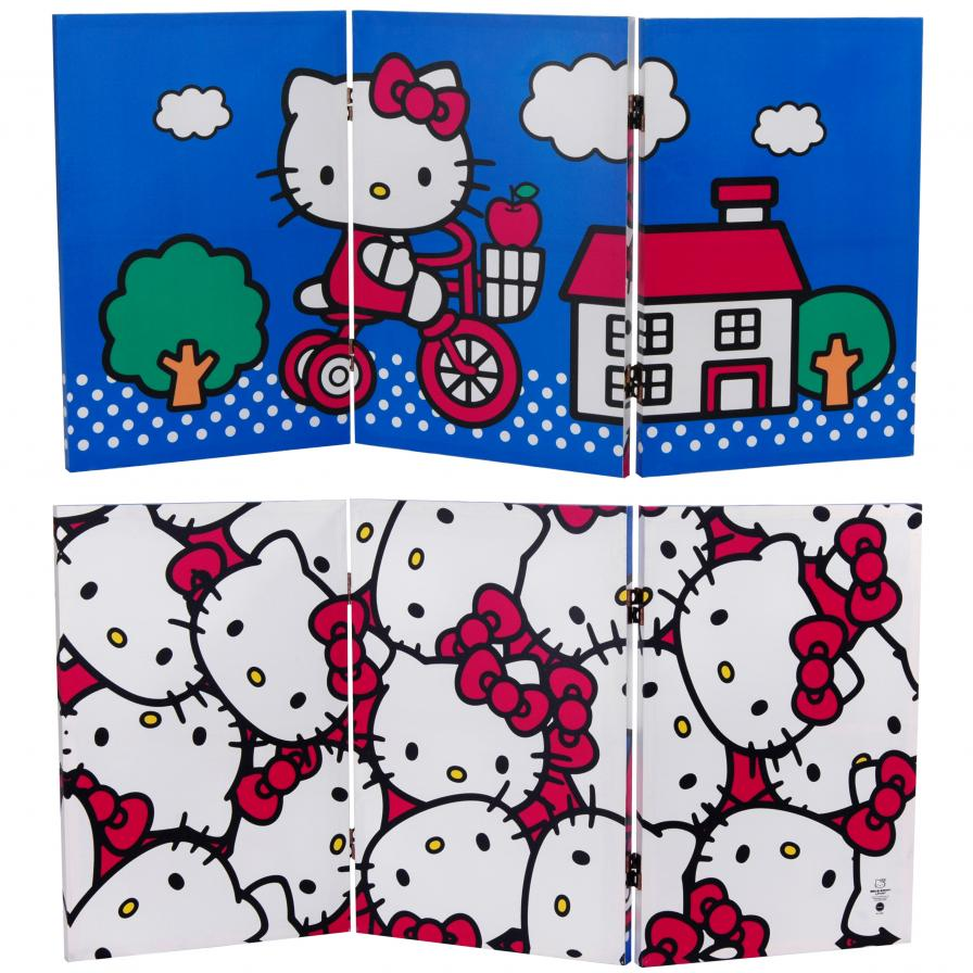 Screens.com 2 ft. Tall Double Sided Hello Kitty Bicycle Canvas Room Divider at Sears.com