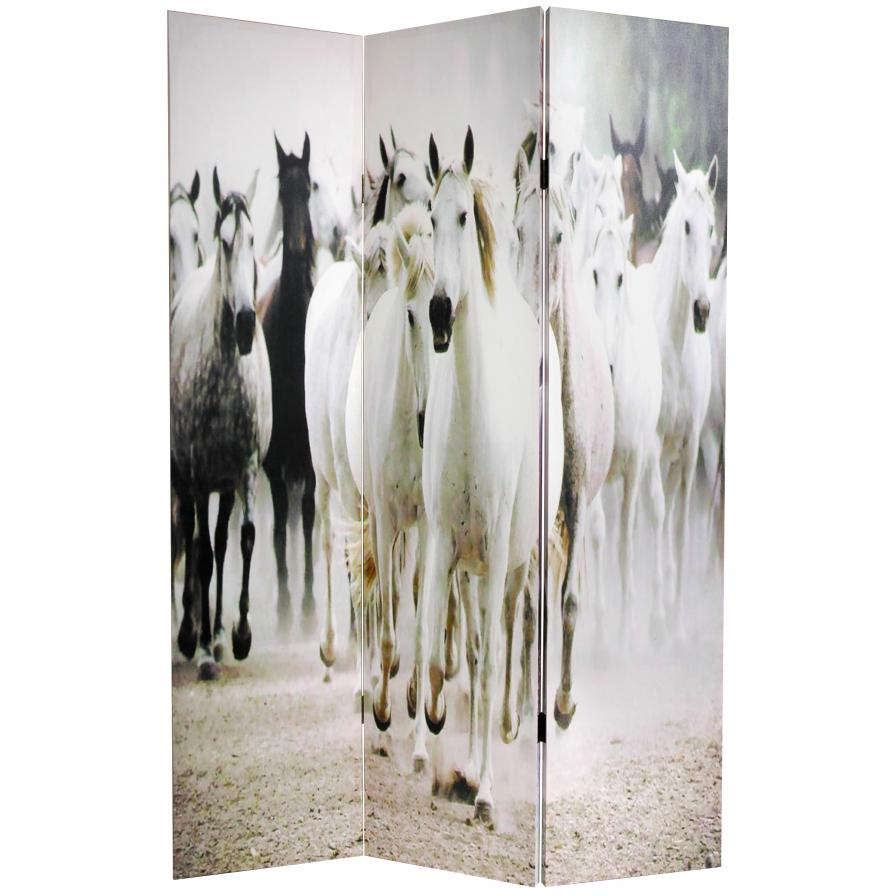 6 ft. Tall Horses Canvas Room Divider