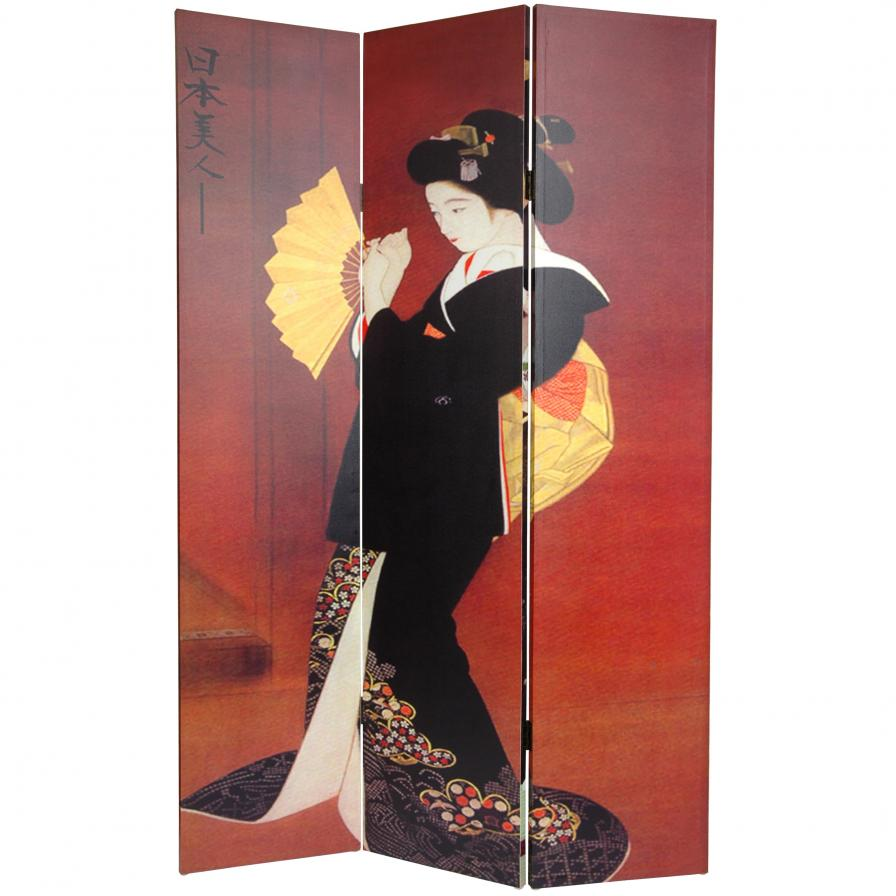 6 ft. Tall Double Sided Japanese Ladies Canvas Room Divider
