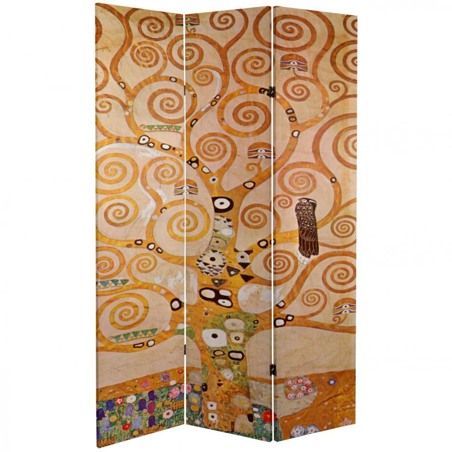 6 ft. Tall Double Sided Works of Klimt Room Divider - The Kiss/Tree of Life