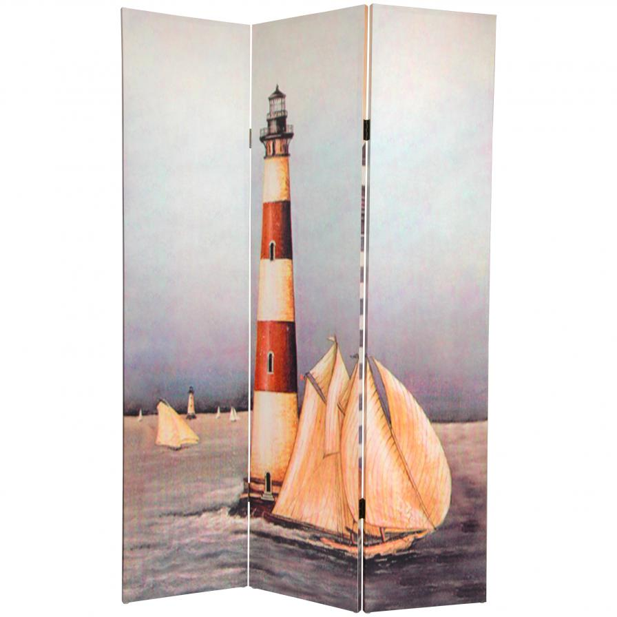 6 ft. Tall Double Sided Lighthouses Canvas Room Divider