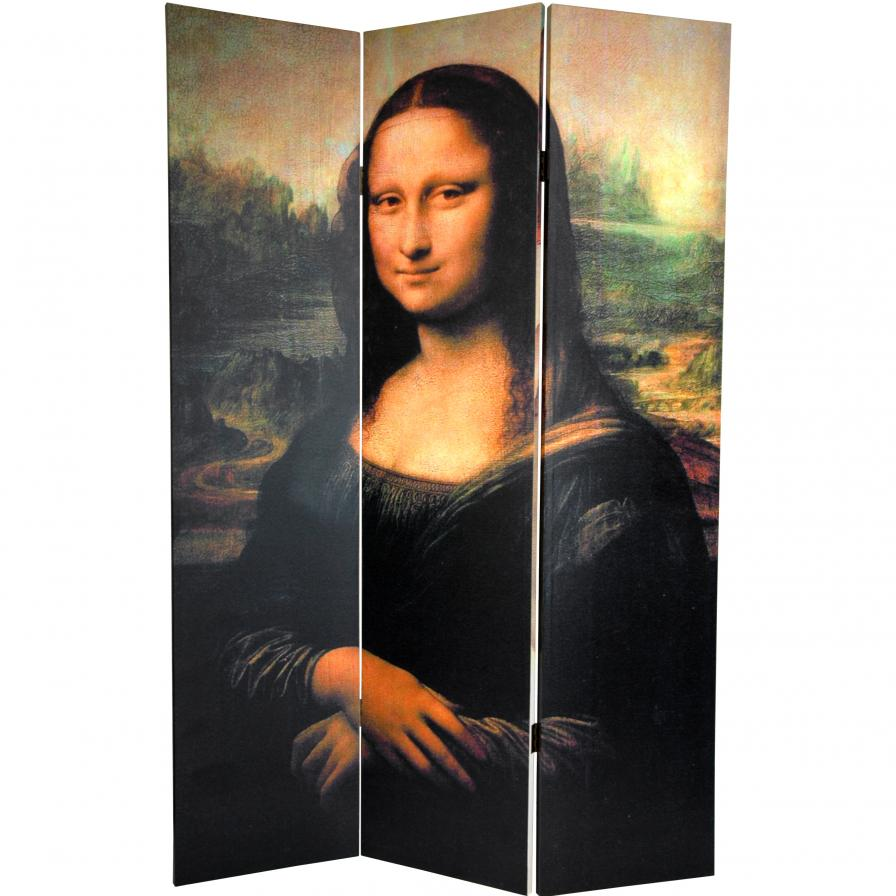 6 ft. Tall Double Sided Mona Lisa and Botticelli Room Divider