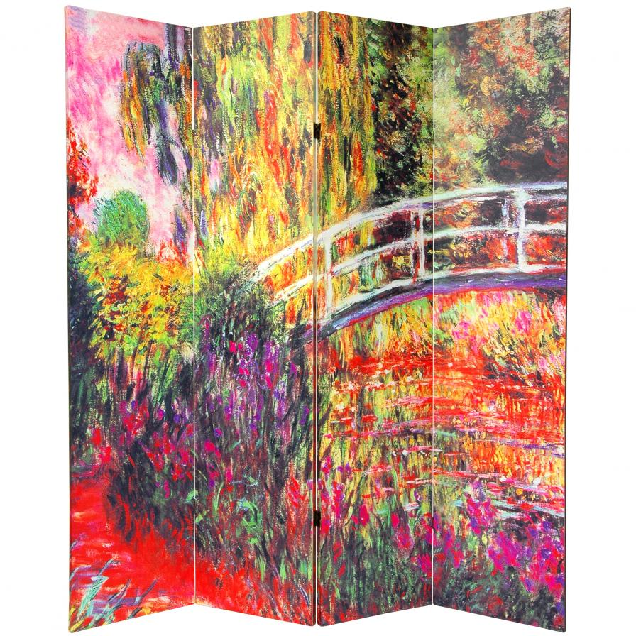6 ft. Tall Double Sided Works of Monet Canvas Room Divider 4 Panel