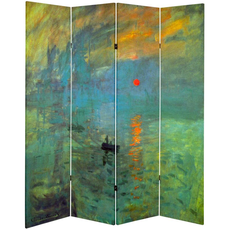 6 ft. Tall Double Sided Works of Monet Canvas Room Divider - Impression Sunrise/Houses of Parliament