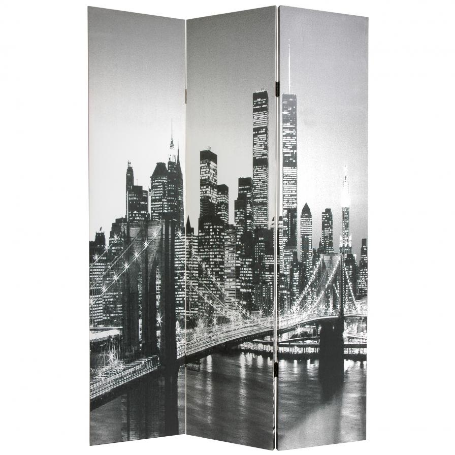 6 Ft Tall Double Sided New York Scenes Room Divider