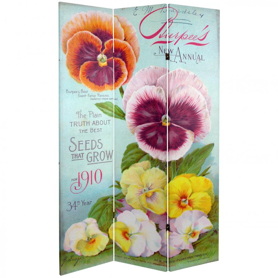 6 ft. Tall Double Sided Flower Seeds Canvas Room Divider - Pansies