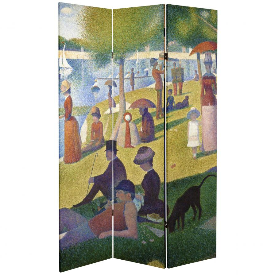 6 ft. Tall Double Sided Works of Seurat Canvas Room Divider