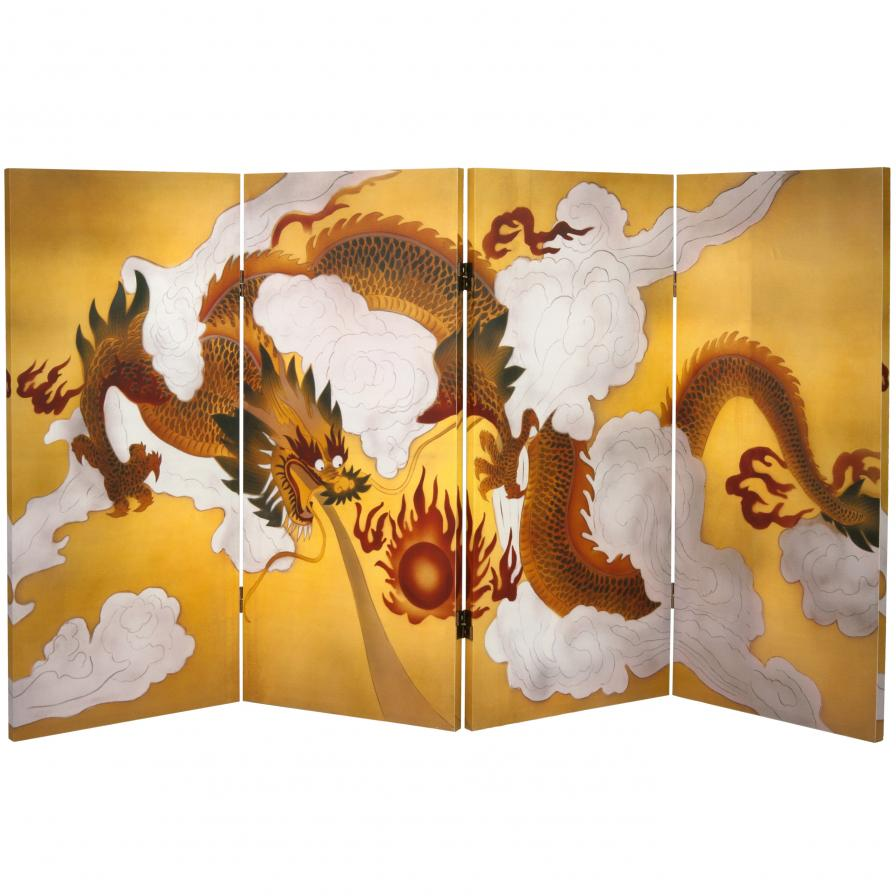 3 ft. Tall Double Sided Dragon in the Sky Canvas Room Divider