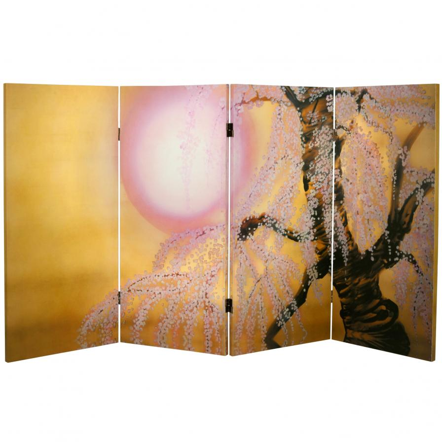 3 ft. Tall Double Sided Sakura Blossoms Canvas Room Divider