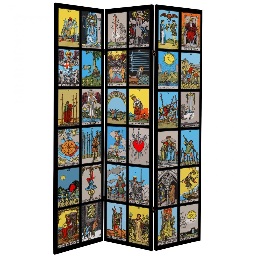 6 ft. Tall Double Sided Tarot Canvas Room Divider