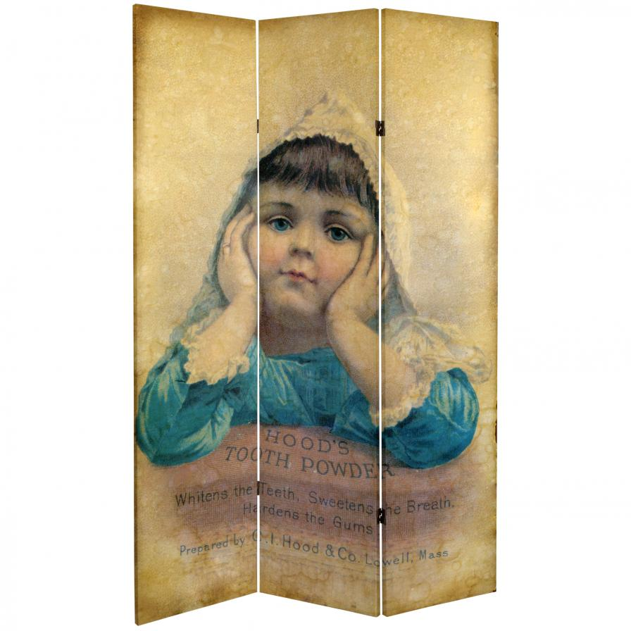 6 ft. Tall Double Sided Vintage Children Canvas Room Divider