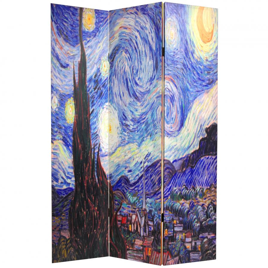 6 ft. Tall Double Sided Works of Van Gogh Canvas Room Divider - Starry Night/Sunflowers