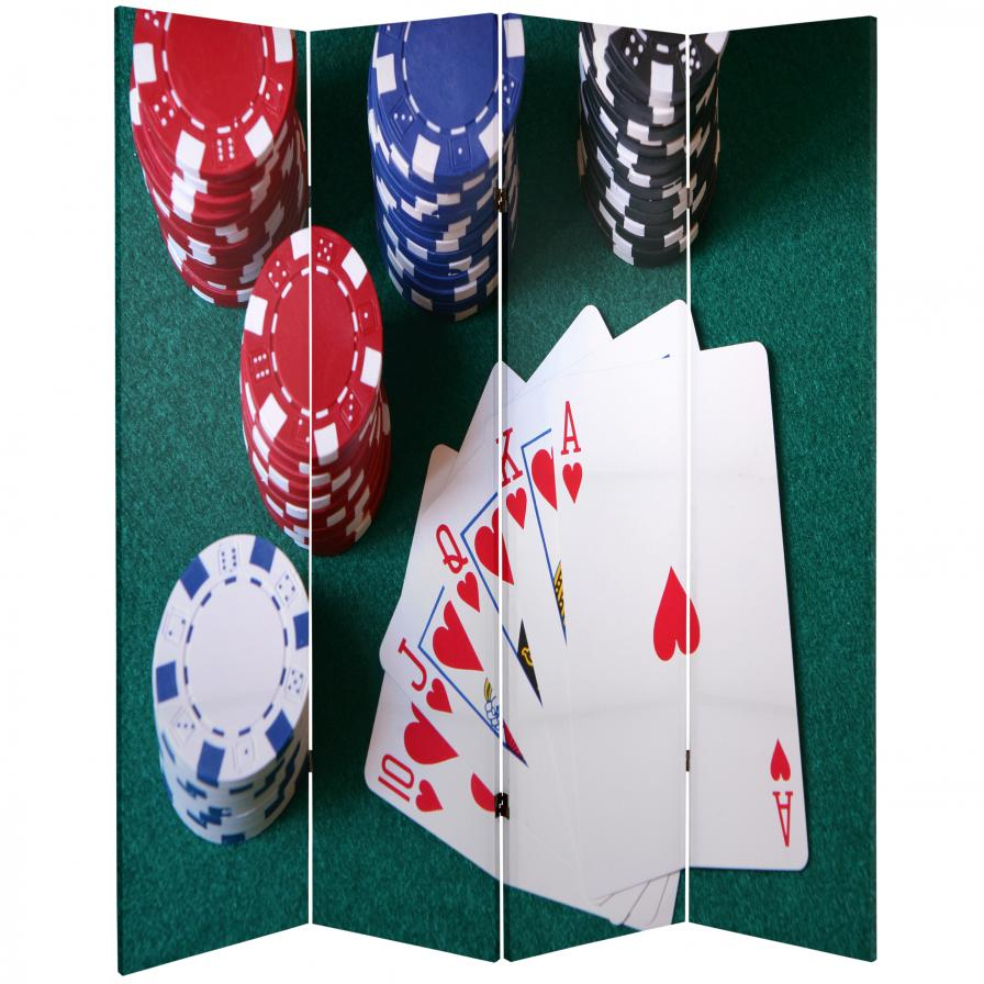 6 ft. Tall Double Sided Las Vegas Poker Canvas Room Divider