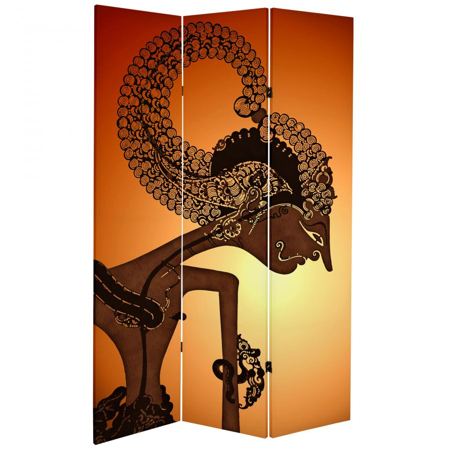 6 ft. Tall Double Sided Wayang Shadow Puppet Canvas Room Divider