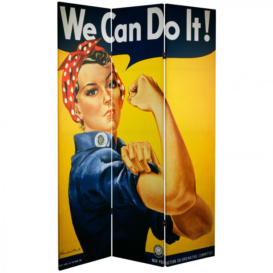 6 ft. Tall Double Sided WWII Posters Room Divider