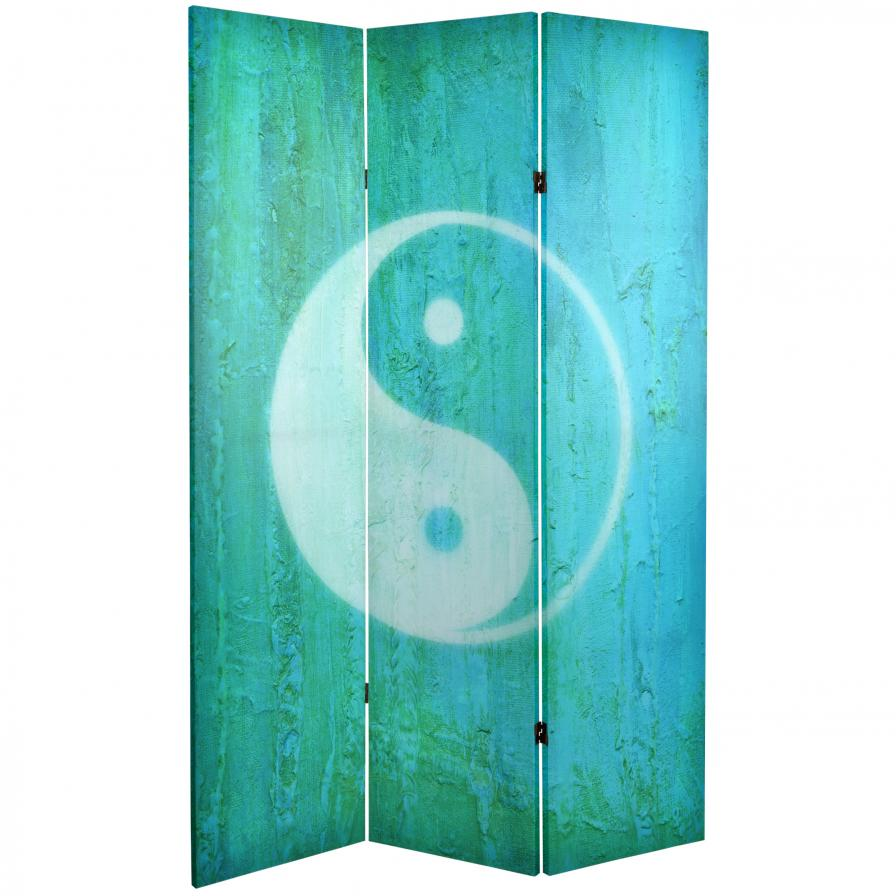 6 ft. Tall Double Sided Yin Yang/Om Canvas Room Divider