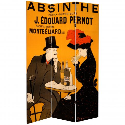 6 ft. Tall Double Sided Absinthe Canvas Room Divider