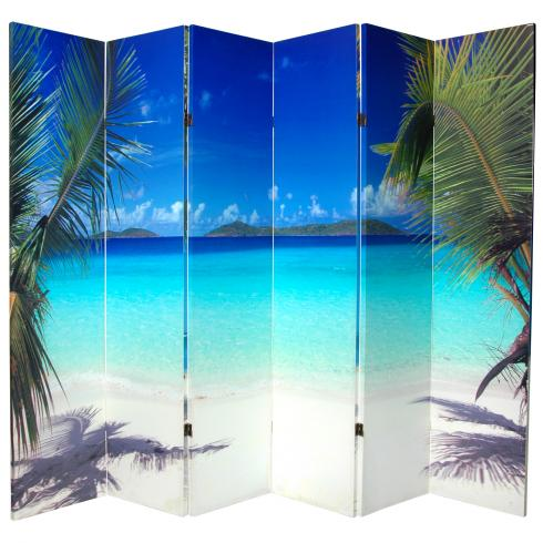 6 ft. Tall Double Sided Beach Canvas Room Divider 6 Panel