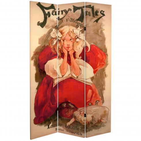 6 ft. Tall Double Sided Fairy Tale Canvas Room Divider