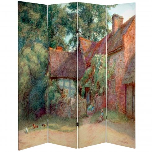 6 ft. Tall Double Sided Farm Life Canvas Room Divider