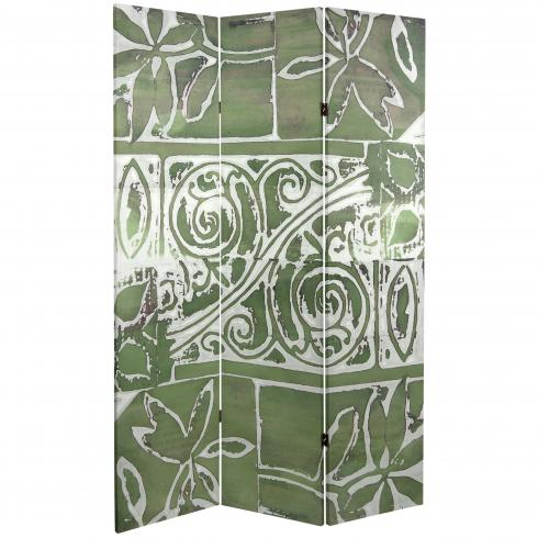 6 ft. Tall Double Sided Green Oliva Canvas Room Divider
