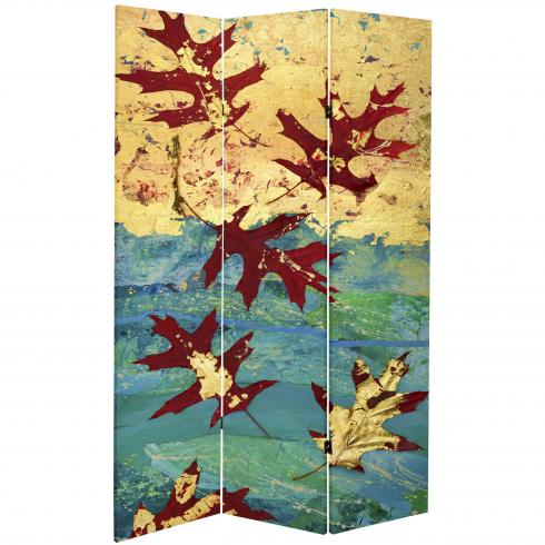 7 ft. Tall Double Sided Autumn Leaves Canvas Room Divider