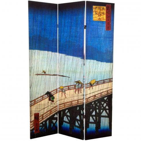 6 ft. Tall Double Sided Hiroshige Room Divider - Sudden Shower/Coast at Hota
