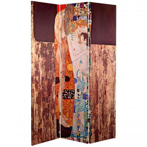 6 ft. Tall Double Sided Works of Klimt Room Divider - Bloch-Bauer/Three Ages of Woman