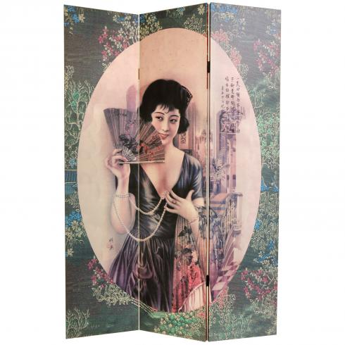 6 ft. Tall Double Sided Shanghai Ladies Canvas Room Divider