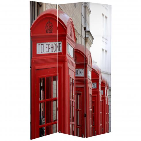 6 ft. Tall Double Sided London Room Divider - Big Ben/Phone Booths