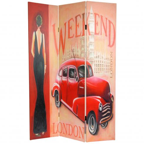 6 ft. Tall Double Sided Vintage Weekend Canvas Room Divider - London