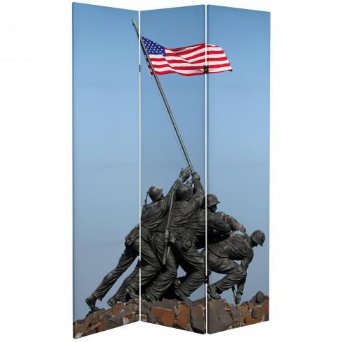 6 ft. Tall Double Sided Memorial Canvas Room Divider - Lincoln/Iwo Jima