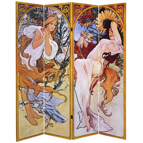 6 ft. Tall Double Sided Four Seasons Canvas Room Divider