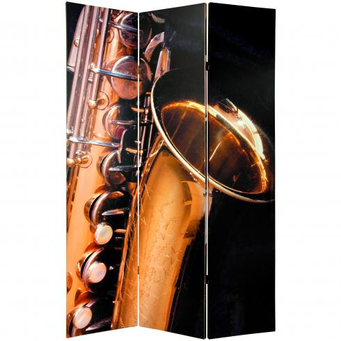 6 ft. Tall Double Sided Music Room Divider - Drums/Saxophone