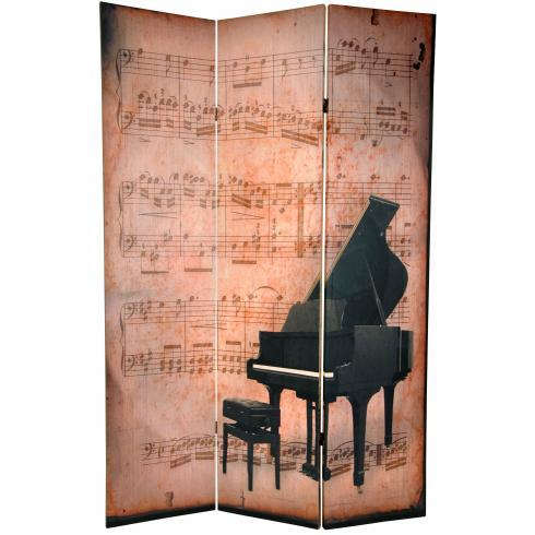 6 ft. Tall Double Sided Music Room Divider - Piano/Phonograph