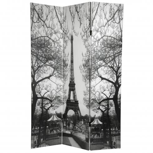 6 ft. Tall Double Sided Paris Room Divider - Eiffel Tower/Arc de Triomphe