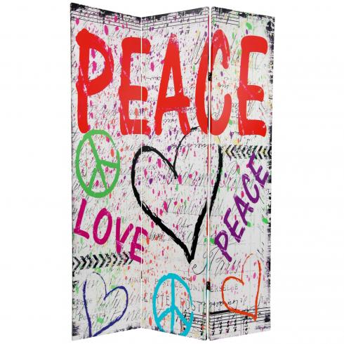 6 ft. Tall Double Sided White Peace & Love Room Divider