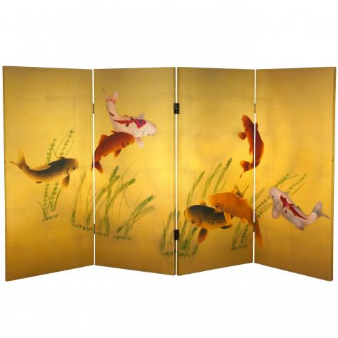 3 ft. Tall Double Sided Seven Lucky Fish Canvas Room Divider
