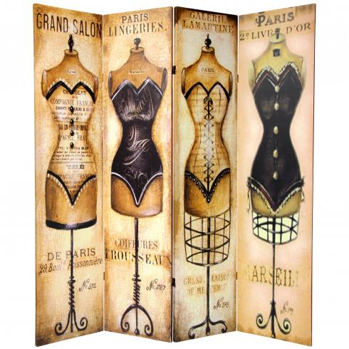 6 ft. Tall Double Sided Mannequin and Singer Canvas Room Divider 4 Panel