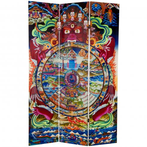 6 ft. Tall The Wheel of Life Double Sided Canvas Room Divider